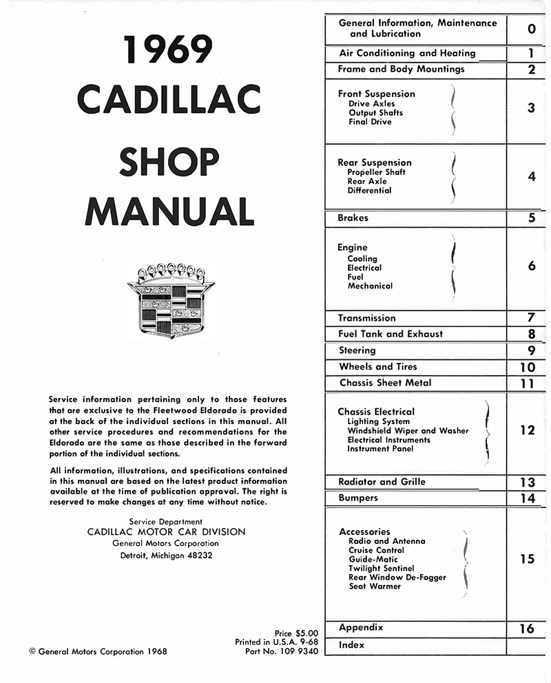 1969 Cadillac Oem Shop Manual In Paper Format Detroit Iron Windows Wiring Diagram Of 1965 All General Motors Except Licensed Print Reproduction Deville Eldorado Fleetwood Series 62 Commercial Chassis