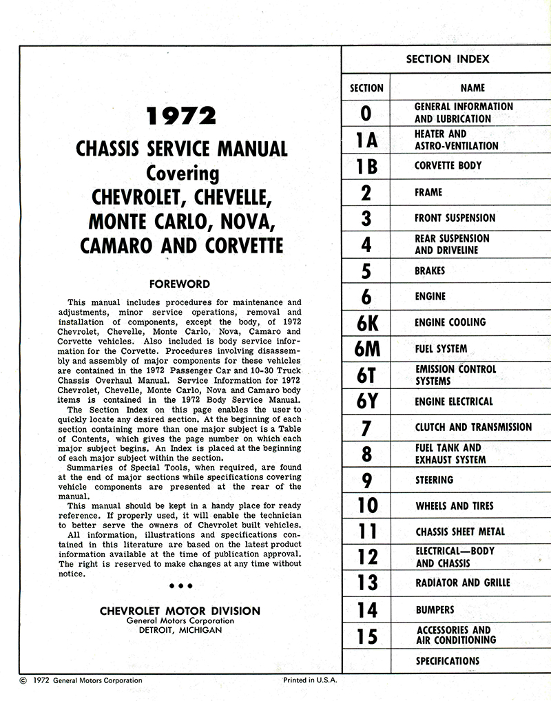 1972 chevy chassis service manual corvette camaro chevelle in rh detroitironis com Corvette Wallpaper New Corvette 2014