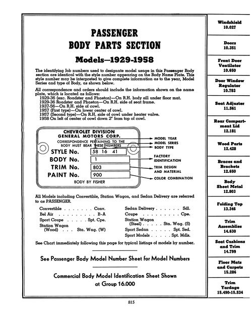 1929 - 1958 Chevrolet Parts & Accessories Catalog (Licensed Reprint)
