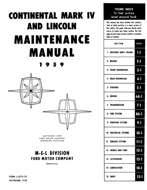 1959 lincoln maintenance manual in paper format