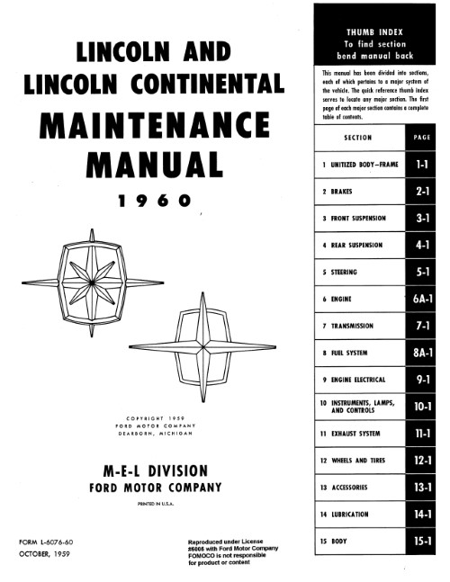 1961-1963 Lincoln Continental Shop Manuals /& Parts Books CD