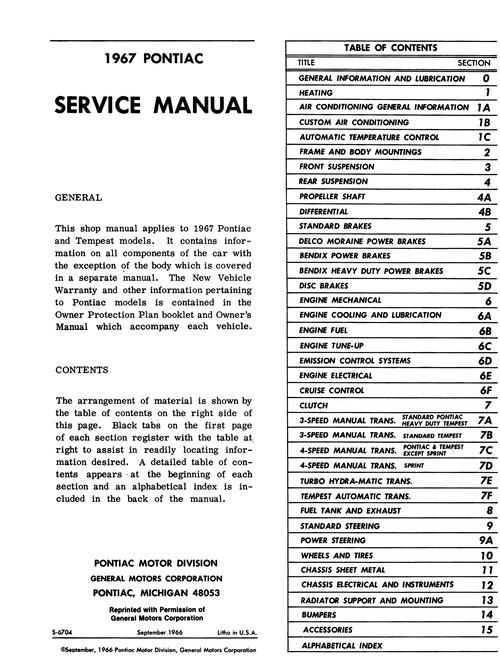 1967 Pontiac Service Manual (Licensed Reprint)