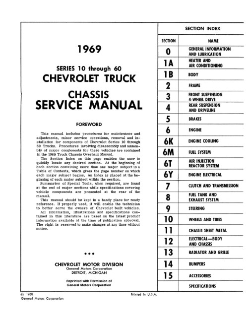 1969 Chevy Truck Chassis Service Manual (Licensed Reprint)