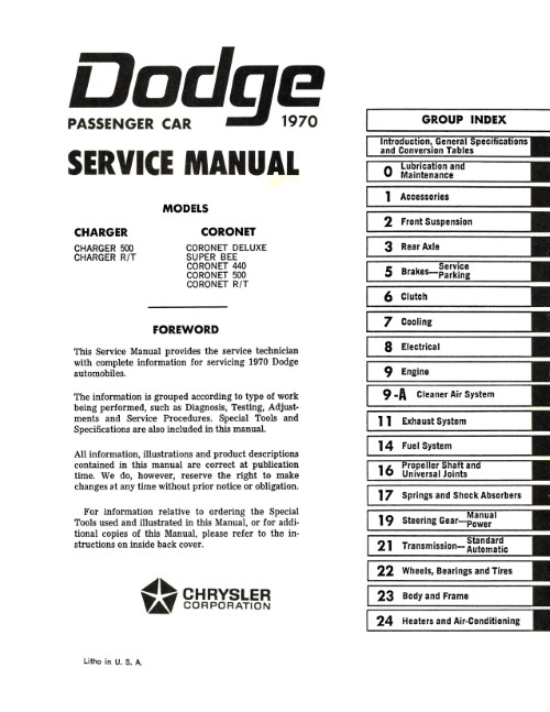 1970 Dodge Charger Coronet Service Manual (Licensed Reprint)