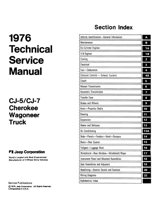 1976 jeep technical service manual (licensed reprint)
