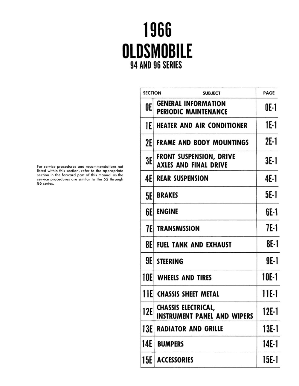 1966 Oldsmobile Chassis Service Manual (Licensed Reprint)