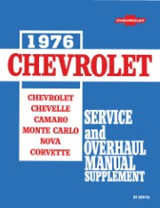 1976 Chevrolet Shop Manual Supplement