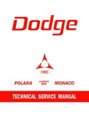 1965 Dodge Polara, Custom 880, & Monaco Repair Shop Manual