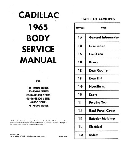 1965 Cadillac Body Service Manual in Paper Format