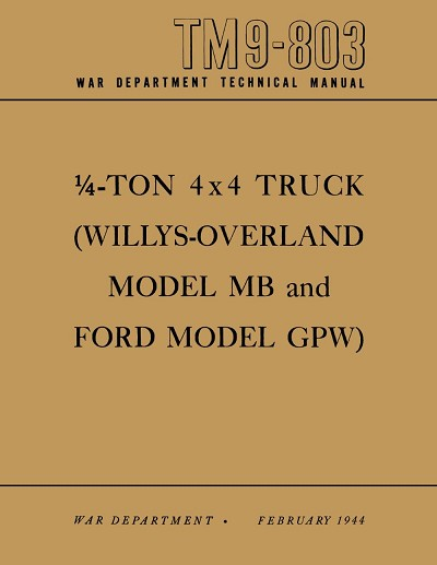 1940-1945 Military Jeep MB/GPW Operating Maintenance Manual